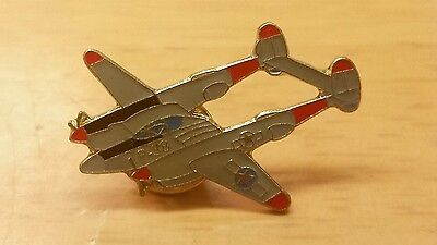 Vintage P-38 Lightning Military Fighter Aircraft Enamel Pin
