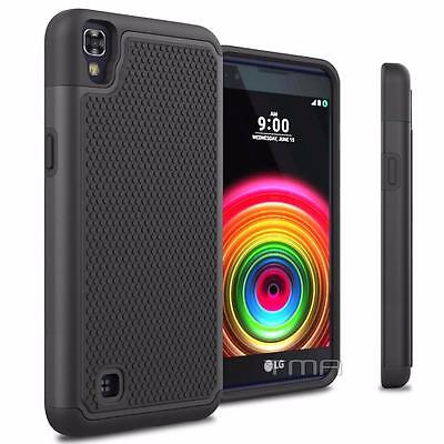 Fits LG X Power Case Rugged Rubber Shockproof Impact Hybrid Hard Cover - Black