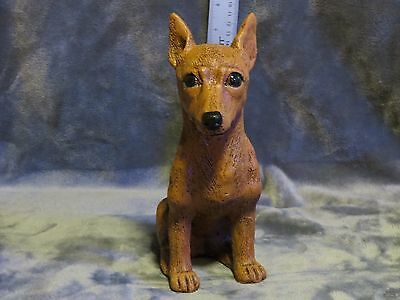 Miniature Pinscher Plaster Dog Statue Hand Cast And Painted By T.c. Schoch