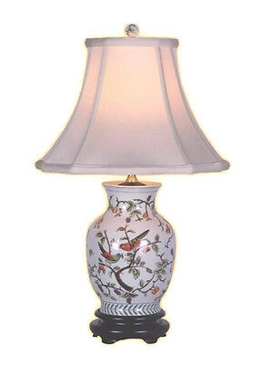 Chinese Porcelain Bird on Floral Twig Motif Vase Table Lamp 20.5""