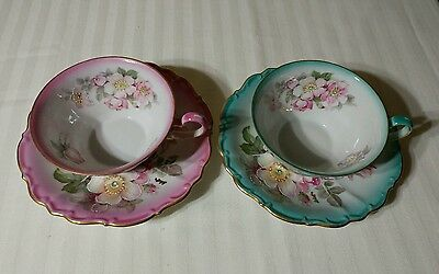 Antique Set of 2 Cups And Saucers Imperial  German Porcelain Flowers