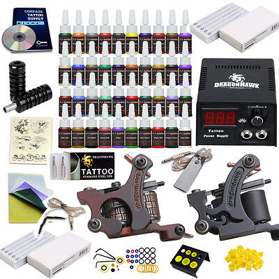 Tätowierung Komplett Tattoo Kit Set 2 Tattoomaschine 40 color inks HW-10VD-8