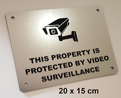 SECURITY WARNING SIGN - VIDEO SURVEILLANCE, CCTV- 20cmX15cm  - silver