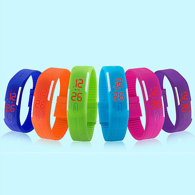 Men Women Modish Silicone Red LED Sport Bracelet Touch Digital Wrist Watch