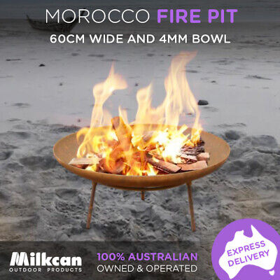 FIREPIT 60cm RUST 3mm THICK Bowl OUTDOOR CAMPING Open Patio Fireplace Heater
