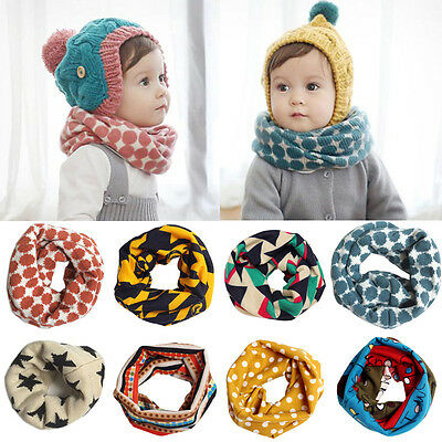 Kids Baby Girls Boys Snood Scarf Bib Scarves Stars Dots Shawl Neckerchief 1-10T