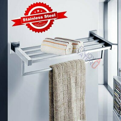 HOT 600mm Double Towel Shelf Chrome Stainless Steel 304 Wall Rack Rail Bathroom