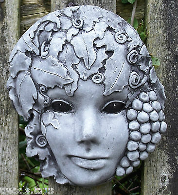 The Green Lady Wall Plaque - Hand Cast Stone Garden Ornament - 16 x 5 x 19 cms