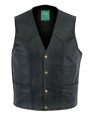 Mens Son Of Anarchy Real Leather Motorcycle Biker Waistcoat/Vest S-6XL UK Stock