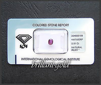 Rubin im Oval-Schliff: 0,51ct / purplish red / mit original IGI-Zertifikat!