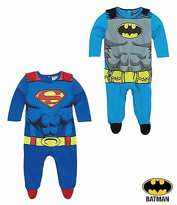 Baby Boys Official Licensed Batman Superman Sleepsuit All In One Pyjamas