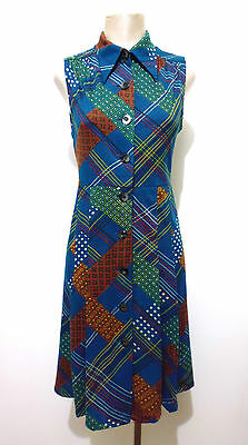 CULT VINTAGE '70 Abito Vestito Donna Optical Woman Wool Dress Sz.S - 42