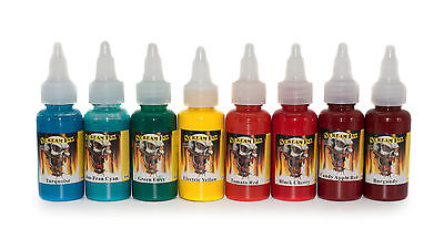 Scream Tattoo Ink Stunning Colours Primary 8 set of 1oz