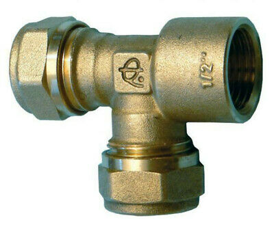 """15mm Compression Tee With 1/2"""" BSP Female End 