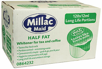 Millac Maid 120 Cartons - Long Life Half Fat Milk Portions Like Fresh Milk