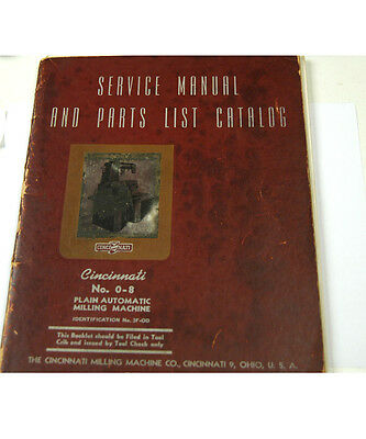Cincinnati No. 0-8 Service Manual & Parts List Catalog  (W-4-Box 9-3-Rct)