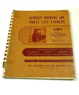 Cincinnati No. 0-8 Service Manual & Parts List Catalog  (W-4-Box 9-6-Rct)