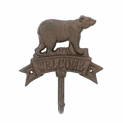 Rustic Cast Iron Bear Welcome Sign with Hook