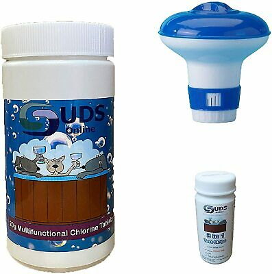 40 x 20g Chlorine Tablets Pool Hot Tub + Dispenser and Testing strips Full Kit