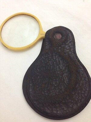 Old Leather Fob Pocket Magnifying Glass Made in Japan