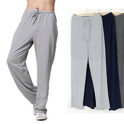 Men's Casual Loose Long Comfy Pajama Pants Blue Grey Sleepwear Lounge Slacks