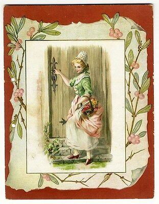 WOMAN with Basket of Flowers 1880's - Poem on Back Booklet Cover VICTORIAN Card