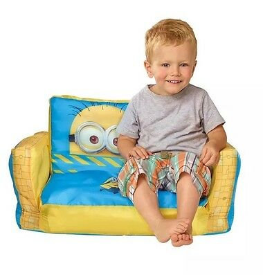 Mini Sofa and Lounger Minions 2 in 1 Inflatable Flip Out Kid Toddlers Seating