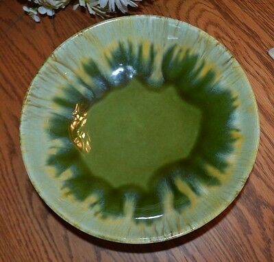 Vintage Royal Haeger Pottery Console Bowl, Green & Yellow, Footed, RG56