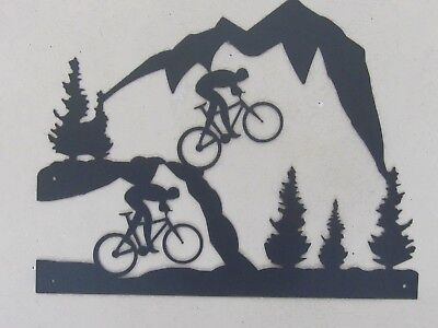 Mountain Bike Race Wall Art Steel Textured Black Powder Coat Finish