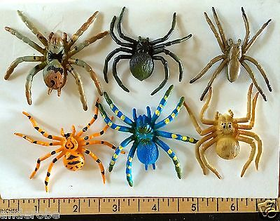 COLLECTION of 6 Colorful RUBBERIZED SPIDERS Set A L@@K*