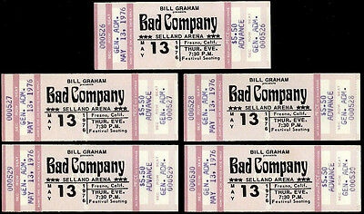 5 Unused Low Number Consecutive Order Bad Company Concert Tickets May 13 1976
