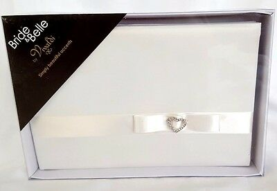WEDDING GUEST BOOK, Ivory Fabric Cover & Rhinestone Heart (Free Shipping)