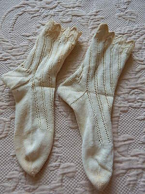 Vintage Hand Crocheted Ivory Cotton Children's Socks c1920s