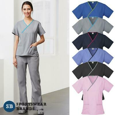Ladies Scrub Set Top Pants Contrast Nurse Doctors Medical Health Womens New