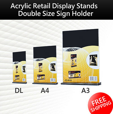 DL A4 A3 Size Double Sided Sign Holder Acrylic Retail Display Stands Menu
