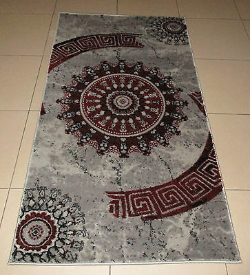 New Grey/red Modern Heatset Floor Hallway Runner Rug 80X150Cm
