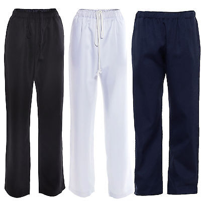 Chef Chefs Trousers Food Catering Pants Pockets Uniform Black White Blue