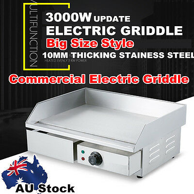 Commercial 3000W Electric Griddle Stainless Steel Plate BBQ Flat Grill AU NEW