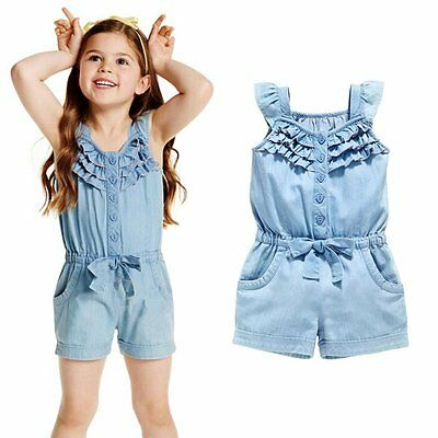 1-5Y Kids Baby Girl Demin Ruffle Rompers Blue Shorts Jumpsuit Playsuit One-Piece