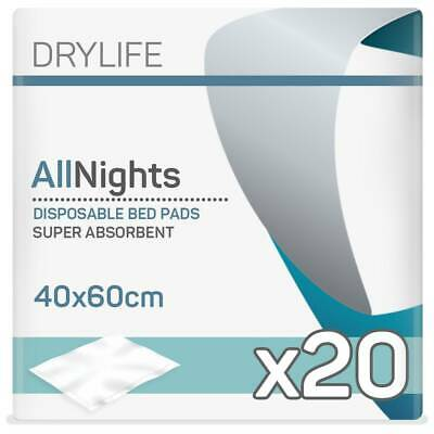 1x Drylife Incontinence Disposable Bed Pad (40cm x 60cm) - Pack of 20 - 490ml