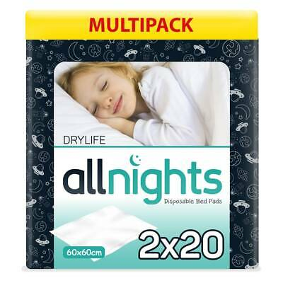 Drylife All Nights Children's Bed Pads - 60cm x 60cm - 2 Packs of 20