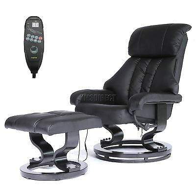 FoxHunter Faux Leather Massage Chair Recliner Sofa Armchair Stool Heating Black