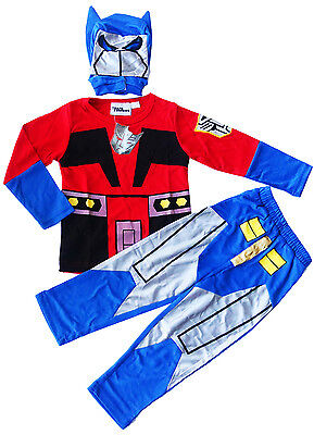 New Size 3-8 Kids Superhero Transformers Blue Party Costumes Boys Girls Optimus