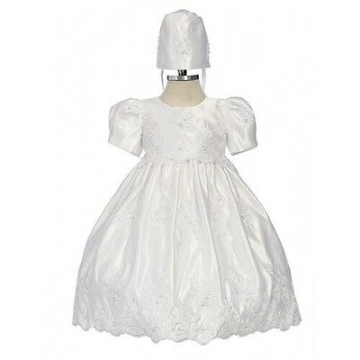 *NEW* BABY GIRLS BEADED CHRISTENING GOWN AND CAP SET WHITE 6 Months only