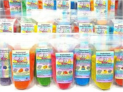 "Candy Floss Sugar bag 250g. BUY 3 GET 2 FREE+ 6 sticks11"" 28 flavours 13 colours"