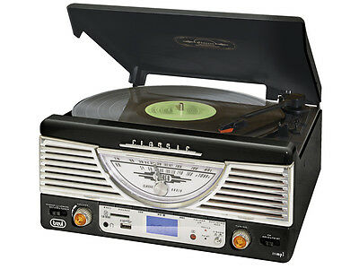 Classic Stereo Record Player • copy Vinyl to SD or USB • FM/AM radio • play MP3