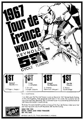 Tour de France 1967  : Vintage cycling advert , Reproduction poster, Wall art.