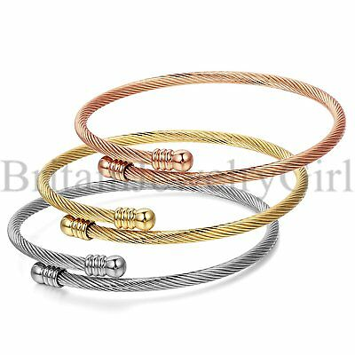 Women Stainless Steel Triple 3 Stackable Cable Wire Cuff Bangle Bracelet*3MM