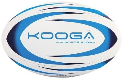 Kooga Durban Rugby Ball 4 Panel Stitched Textured Surface - White/Blue Size 4