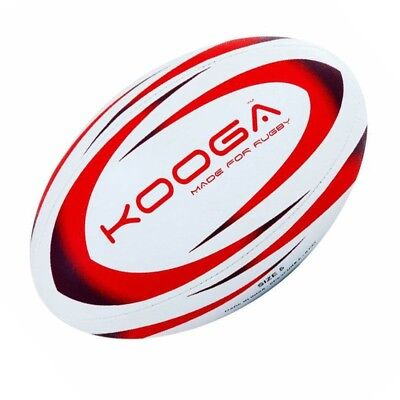 Kooga Durban Rugby Ball 4 Panel Stitched Textured Surface - White/Red Size 5